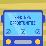Text sign showing Seek New Opportunities. Conceptual photo looking for a new job or another business venture Drawn Flat. Front View of Bus with Blank Color stock illustration