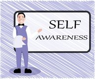 Text sign showing Self Awareness. Conceptual photo Consciousness of a person towards a situation or happenings.  royalty free illustration