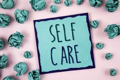 Text sign showing Self Care. Conceptual photo Protection you give to yourself Individual control checking. Concept For Information. Text sign showing Self Care royalty free stock images