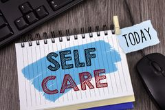 Text sign showing Self Care. Conceptual photo Protection you give to yourself Individual control checking. Concept For Information. Text sign showing Self Care stock photo