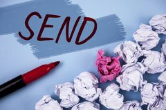 Text sign showing Send. Conceptual photo Arrange something to be delivered Mail a thing Deliver a message written on Painted backg. Text sign showing Send Royalty Free Stock Photos