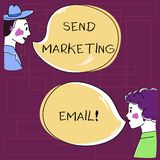 Text sign showing Send Marketing Email. Conceptual photo targeting of consumers through electronic mail Hand Drawn Man. And Wo analysis Talking photo with Blank royalty free illustration