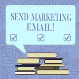 Text sign showing Send Marketing Email. Conceptual photo targeting of consumers through electronic mail Uneven Pile of. Hardbound Books and Blank Rectangular royalty free illustration