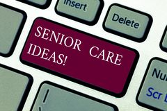 Text sign showing Senior Care Ideas. Conceptual photo encompasses any services required to assist old citizens Keyboard. Key Intention to create computer royalty free stock photos
