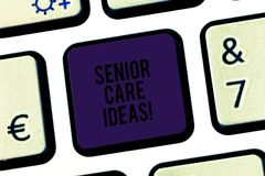 Text sign showing Senior Care Ideas. Conceptual photo encompasses any services required to assist old citizens Keyboard. Key Intention to create computer royalty free stock image