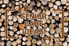 Text sign showing Senior Care Ideas. Conceptual photo encompasses any services required to assist old citizens Wooden. Background vintage wood wild message royalty free stock photo
