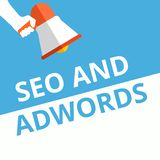 Text sign showing Seo and Adwords stock illustration