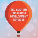 Text sign showing Seo Content Creation And Development Services. Conceptual photo Search engine optimization Three toned royalty free illustration