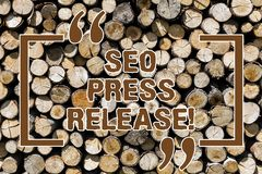 Text sign showing Seo Press Release. Conceptual photo make sure that links going back websites in your press Wooden stock illustration