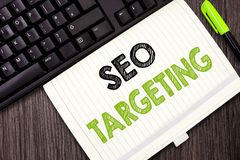 Text sign showing Seo Targeting. Conceptual photo Specific Keywords for Location Landing Page Top Domain.  stock photography
