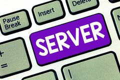 Text sign showing Server. Conceptual photo computer program which manages access centralized resource network.  stock photography