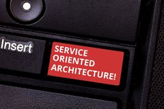 Text sign showing Service Oriented Architecture. Conceptual photo Central interface A way of organizing software. Keyboard key Intention to create computer royalty free stock photography