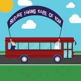 Text sign showing Service Taking Care Of You. Conceptual photo Offering assistance Experts advice ideas Two Kids Inside royalty free illustration