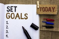 Text sign showing Set Goals. Conceptual photo Target Planning Vision Dreams Goal Idea Aim Target Motivation written on Notebook Bo. Text sign showing Set Goals Royalty Free Stock Photos