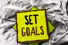 Text sign showing Set Goals. Conceptual photo Target Planning Vision Dreams Goal Idea Aim Target Motivation written on Stacked Sti. Text sign showing Set Goals Royalty Free Stock Image