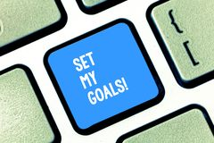 Text sign showing Setting My Goals. Conceptual photo create something that want accomplish and establishing Keyboard key. Text sign showing Setting My Goals royalty free stock photos