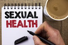 Text sign showing Sexual Health. Conceptual photo STD prevention Use Protection Healthy Habits Sex Care written by Man Holding Mar. Ker Notebook Book the jute royalty free stock photography