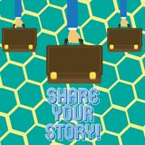 Text sign showing Share Your Story. Conceptual photo Experience Nostalgia Memory Personal. Text sign showing Share Your Story. Business photo text Experience stock illustration