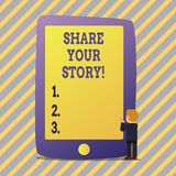 Text sign showing Share Your Story. Conceptual photo Experience Nostalgia Memory Personal. Text sign showing Share Your Story. Business photo showcasing stock illustration
