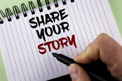 Text sign showing Share Your Story. Conceptual photo Tell personal experiences talk about yourself Storytelling written by Man on. Text sign showing Share Your Royalty Free Stock Photos