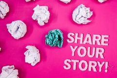 Text sign showing Share Your Story Motivational Call. Conceptual photo Experience Nostalgia Memory Personal Text Words pink backgr. Ound crumbled paper notes Stock Photography