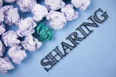 Text sign showing Sharing. Conceptual photo To Share Give a portion of something to another Possess in common written on the Plain. Text sign showing Sharing Royalty Free Stock Image