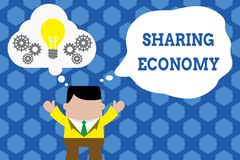 Text sign showing Sharing Economy. Conceptual photo economic model based on providing access to goods Standing man suit. Text sign showing Sharing Economy stock illustration