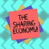 Text sign showing The Sharing Economy. Conceptual photo systems assets or services shared between individuals Multiple. Layer of Blank Sheets Color Paper vector illustration