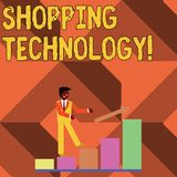 Text sign showing Shopping Technology. Conceptual photo advancing innovations in trading and process automation Smiling vector illustration