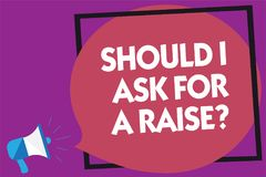 Text sign showing Should I Ask For A Raise question. Conceptual photo demanding increase in your month salary Megaphone loudspeake. R loud screaming purple vector illustration