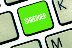 Text sign showing Shredder. Conceptual photo machine or other device for shredding something like paper.  stock photos
