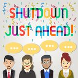 Text sign showing Shutdown Just Ahead. Conceptual photo closing factory business either short time or forever Group of vector illustration