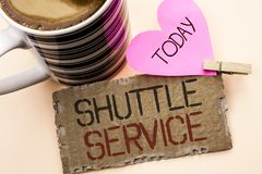 Text sign showing Shuttle Service. Conceptual photo Transportation Offer Vacational Travel Tourism Vehicle written on Tear Cardboa. Text sign showing Shuttle Royalty Free Stock Photography