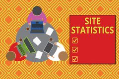 Text sign showing Site Statistics. Conceptual photo measurement of behavior of visitors to certain website Working round. Text sign showing Site Statistics vector illustration