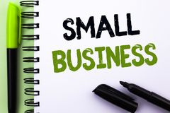 Text sign showing Small Business. Conceptual photo Little Shop Starting Industry Entrepreneur Studio Store written on Notebook Boo. Text sign showing Small Stock Photography