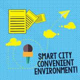 Text sign showing Smart City Convenient Environment. Conceptual photo Connected technological modern cities Information. And Documents Passing thru Cloud royalty free illustration