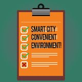 Text sign showing Smart City Convenient Environment. Conceptual photo Connected technological modern cities Lined Color. Vertical Clipboard with Check Box photo stock illustration