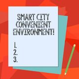 Text sign showing Smart City Convenient Environment. Conceptual photo Connected technological modern cities Stack of. Blank Different Pastel Color Construction stock illustration