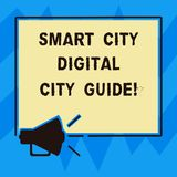 Text sign showing Smart City Digital City Guide. Conceptual photo Connected technological modern cities Megaphone Sound. Icon Outlines Blank Square Loudspeaker vector illustration