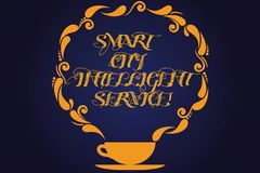 Text sign showing Smart City Intelligent Service. Conceptual photo Connected technological modern cities Cup and Saucer. With Paisley Design as Steam icon on stock illustration