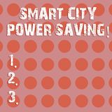 Text sign showing Smart City Power Saving. Conceptual photo Connected technological cities electricity savings Circle. Photo Two Tone Blank Copy Space Template stock illustration