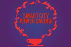 Text sign showing Smart City Power Saving. Conceptual photo Connected technological cities electricity savings Cup and. Saucer with Paisley Design as Steam icon stock illustration