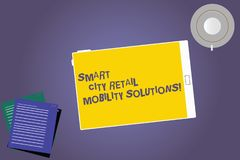 Text sign showing Smart City Retail Mobility Solutions. Conceptual photo Connected technological modern cities Tablet. Empty Screen Cup Saucer and Filler Sheets stock illustration