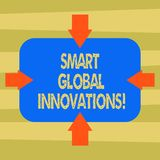 Text sign showing Smart Global Innovations. Conceptual photo capability of firms to create new opportunities Arrows on. Four Sides of Blank Rectangular Shape vector illustration