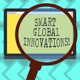 Text sign showing Smart Global Innovations. Conceptual photo capability of firms to create new opportunities Magnifying. Glass Enlarging Tablet Blank Color stock illustration