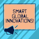 Text sign showing Smart Global Innovations. Conceptual photo capability of firms to create new opportunities Megaphone. Sound icon Outlines Blank Square vector illustration