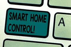 Text sign showing Smart Home Control. Conceptual photo provides owners security comfort and energy efficiency Keyboard. Key Intention to create computer message stock photos