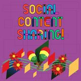 Text sign showing Social Content Sharing. Conceptual photo spreading of webpage and blog content in social media. Colorful Instrument Maracas Handmade Flowers stock illustration