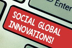 Text sign showing Social Global Innovations. Conceptual photo new concepts that meets social global needs Keyboard key stock image