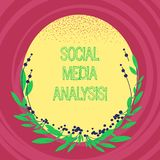 Text sign showing Social Media Analysis. Conceptual photo collecting and evaluating the social media data Blank Color Oval Shape. With Leaves and Buds as Border stock illustration